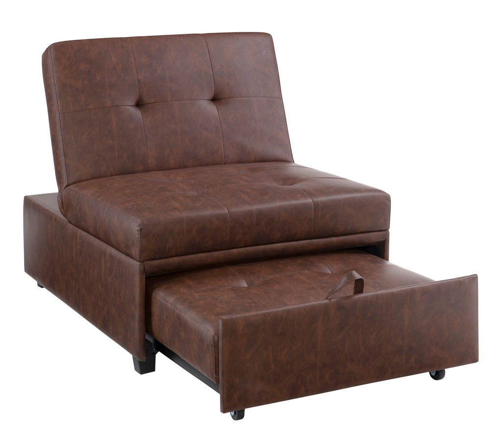 Boone Sofa Bed, Brown Faux Leather - Powell D1099S17BP