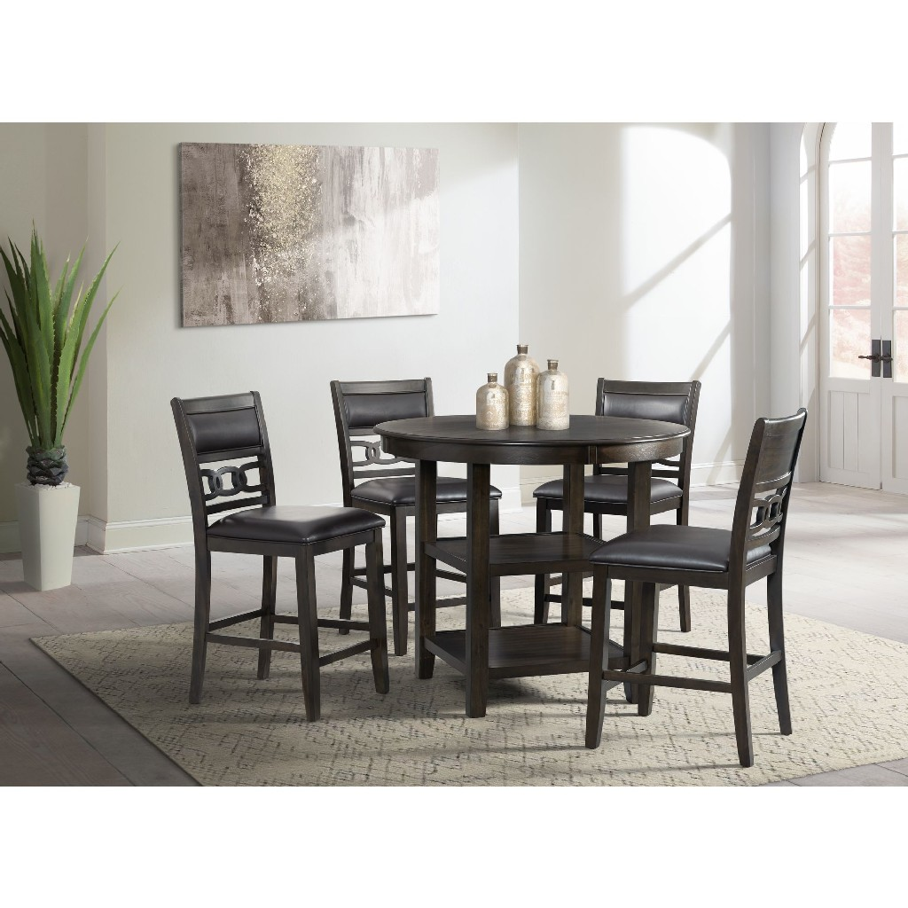 Picket House Dining Set Counter Table Leather Side Chairs