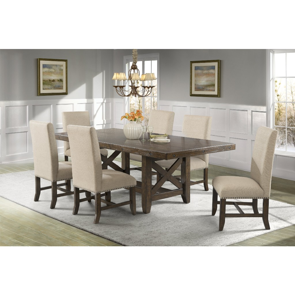 Picket House Dining Set Table Fabric Side Chairs