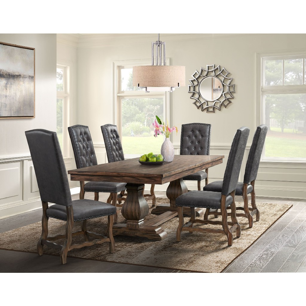 Picket House Furniture Dining Set Table Tufted Tall Back Chairs Photo