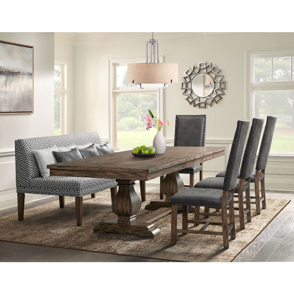 Dining Set Table Four Tall Back Chairs Settee