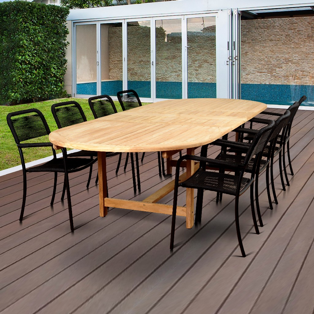 International Home Teak Double Extendable Dining Set Rectangular Patio