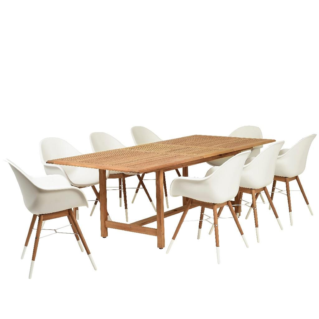 Amazonia 9 Piece Teak Rectangular Patio Dining Set - International Home DIANR_8CHAM_LT