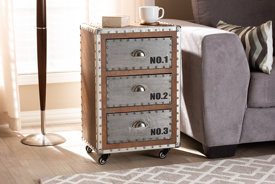 Nightstand | 3-Drawer | French | Silver | Metal | Brown | Roll | Wood