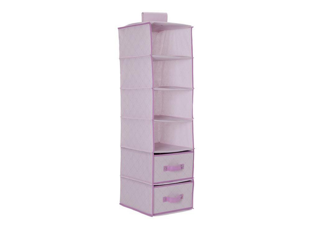 Delta Children 6 Shelf Hanging Wall Storage with 2 Drawers, Barley Pink - DTSS2060-689