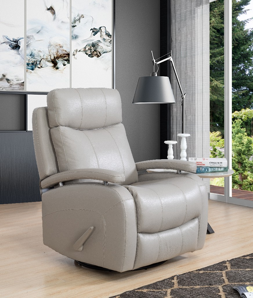 Barcalounger Duffy Swivel Glider Recliner Gable Dove Leather Match