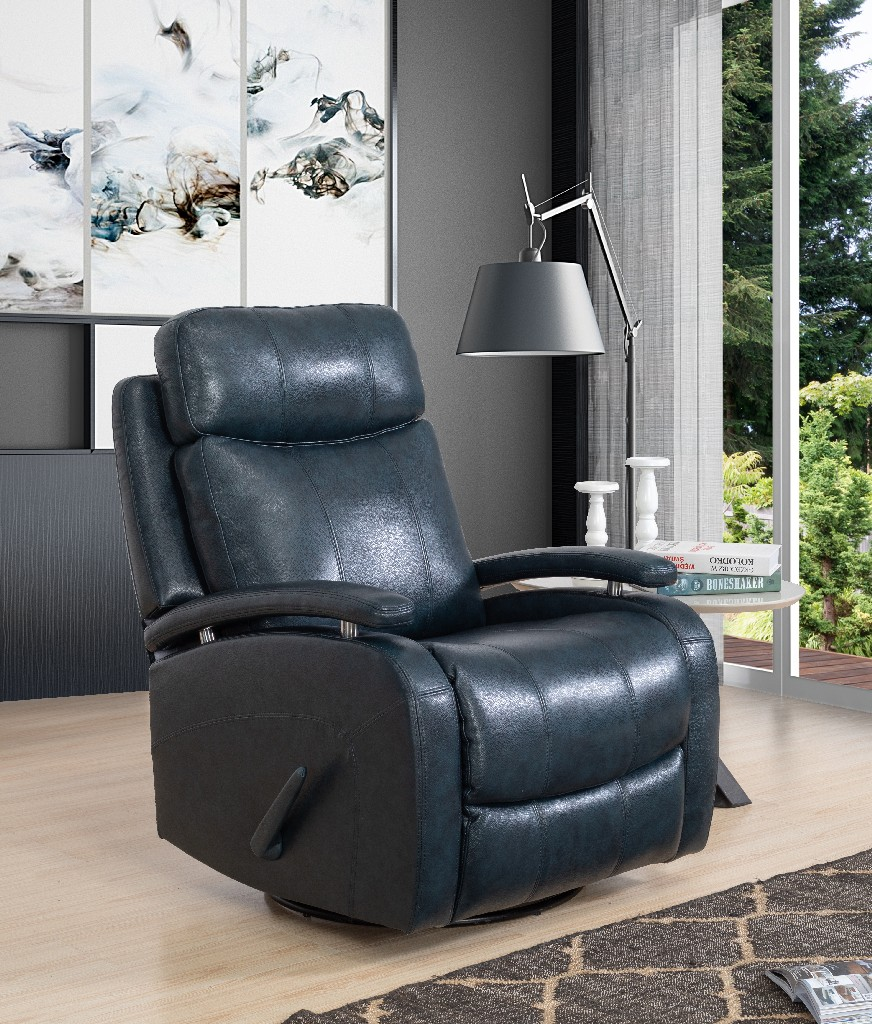 Barcalounger Duffy Swivel Glider Recliner Ryegate Sapphire Blue Leather Match