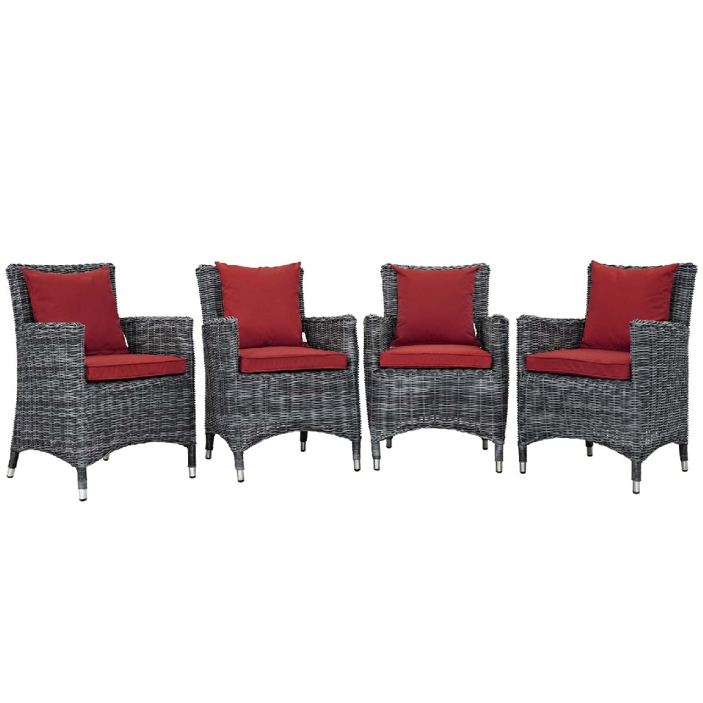 East End Outdoor Patio Sunbrella Dining Set Gry Red Set