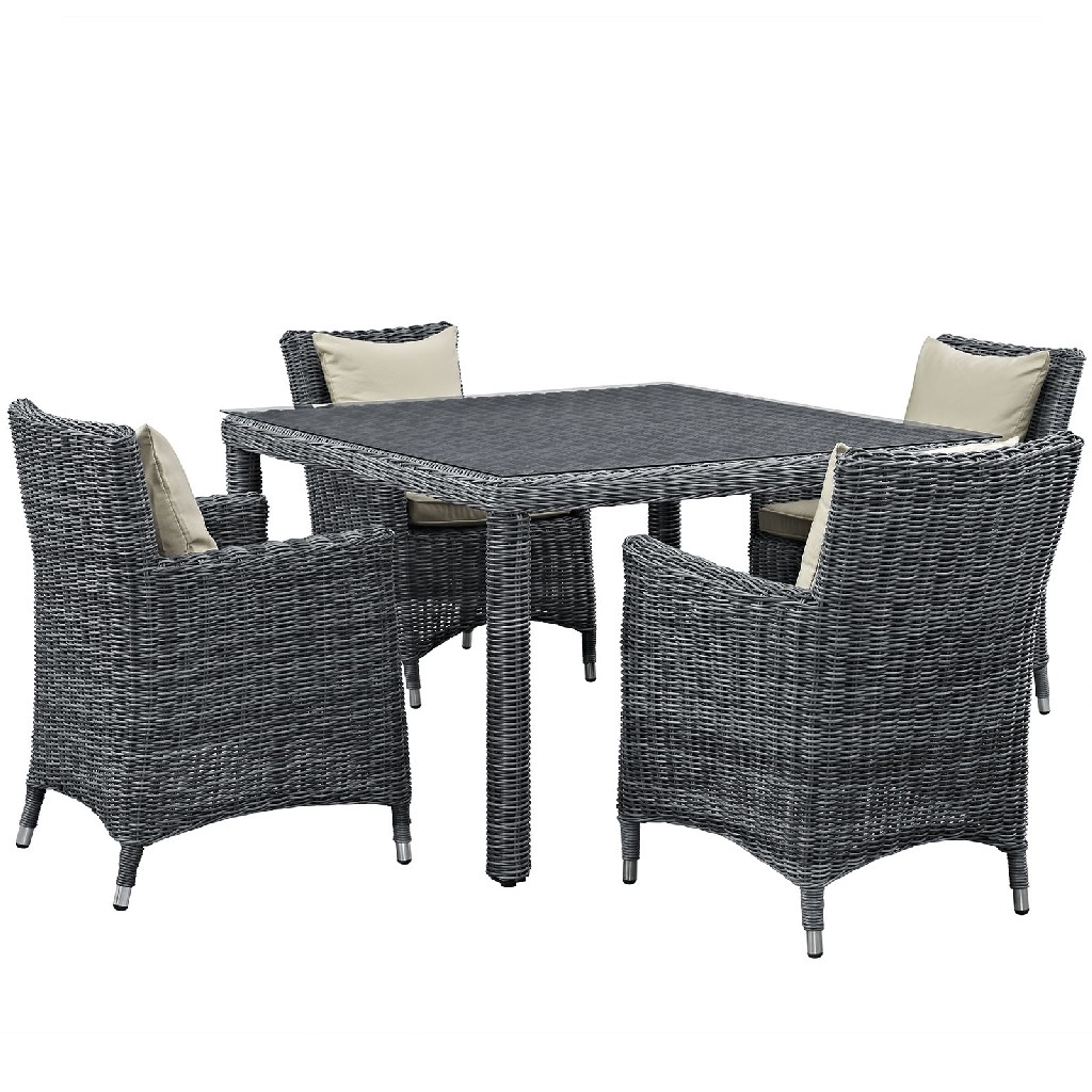 East End Outdoor Patio Sunbrella Dining Set Gry Bei Set