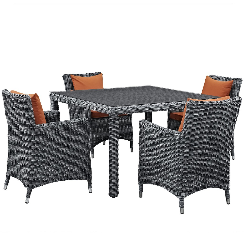 East End Outdoor Patio Sunbrella Dining Set Gry Tus Set