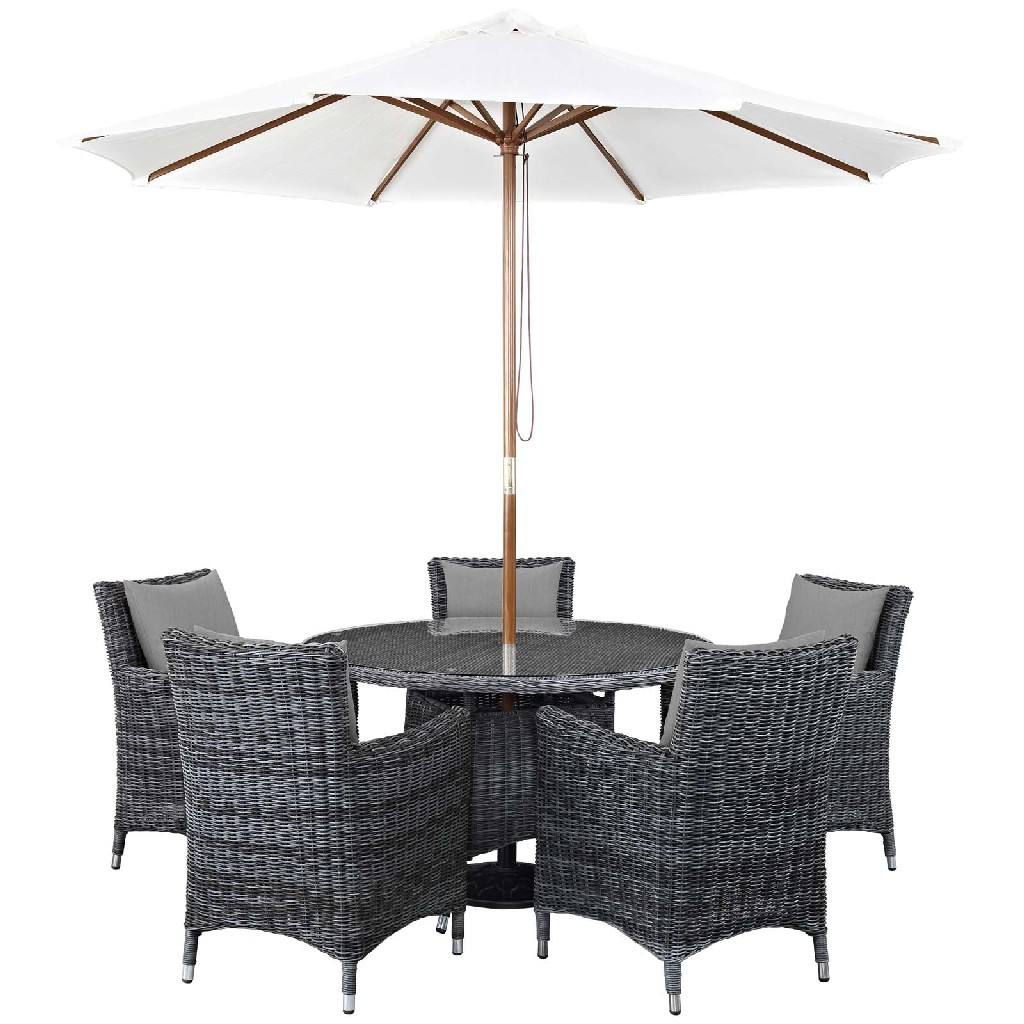 East End Outdoor Patio Sunbrella Dining Set Gry Gry Set