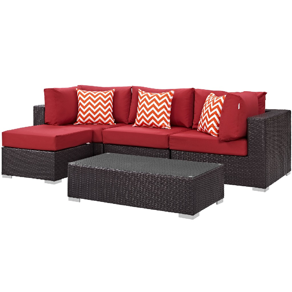 East End Outdoor Patio Sectional Set Exp Red Set