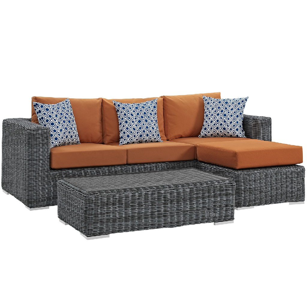 East End Outdoor Patio Sunbrella Sectional Set Gry Tus Set