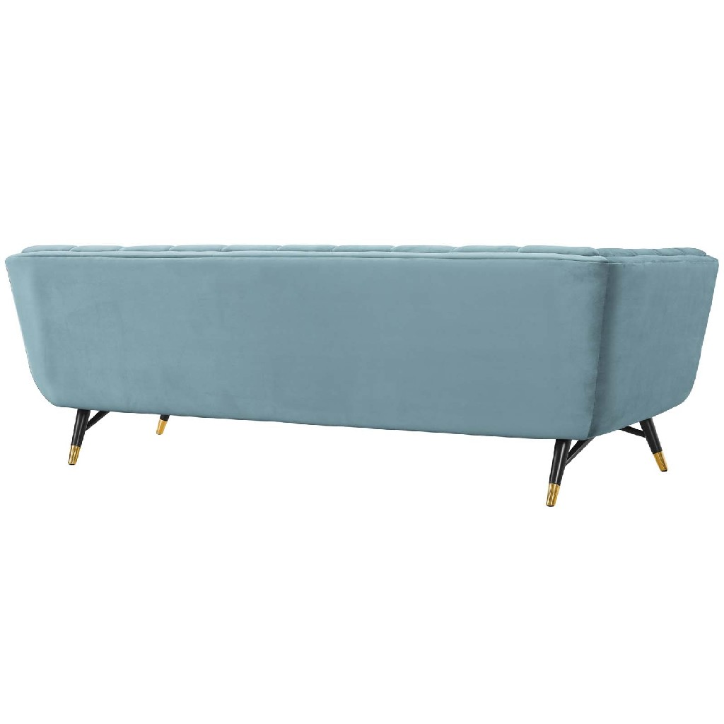 East End Upholstered Velvet Sofa Sea