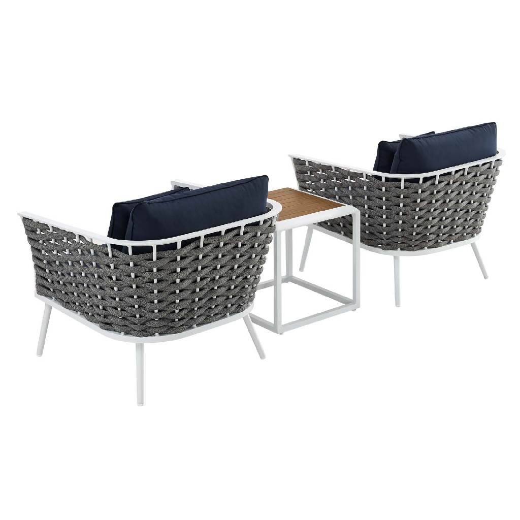 East End Stance Outdoor Patio Aluminum Sectional Sofa Set Whi Nav Set