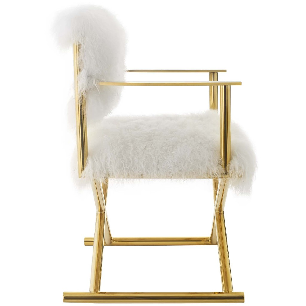 East Action Pure White Cashmere Accent Director Chair Gld Whi Photo