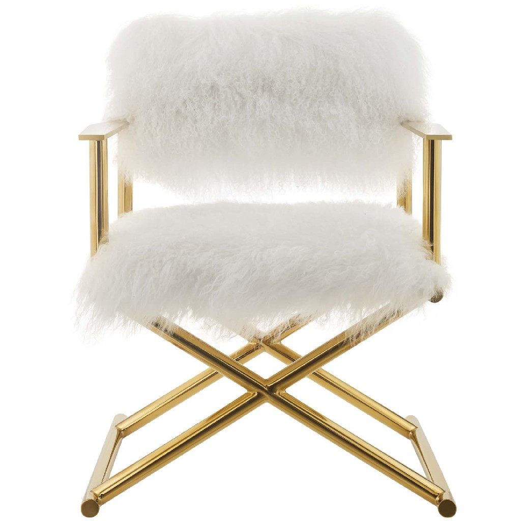 Action Pure White Cashmere Accent Director's Chair EEI-3269-GLD-WHI