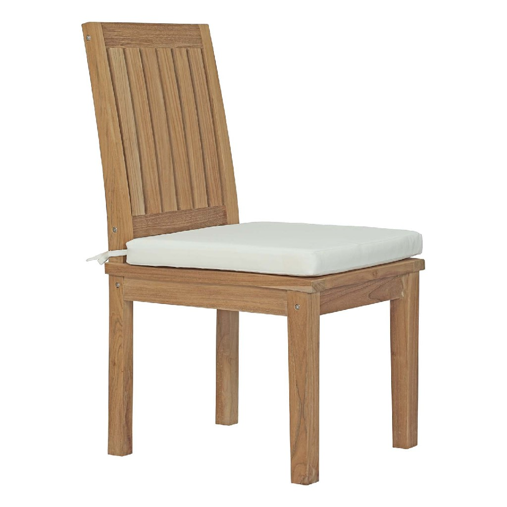 East End Marina Outdoor Patio Teak Outdoor Dining Set Nat Whi Set