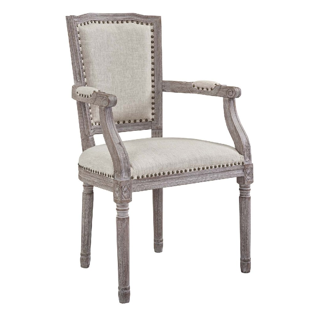 Penchant Dining Armchair Upholstered Fabric Bei