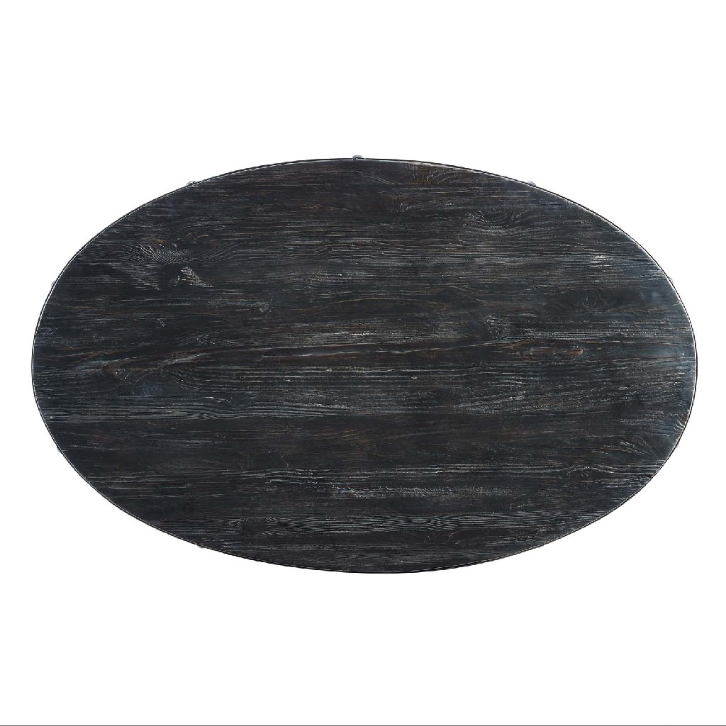 East End Imports Dining Table Oval Wood Top Blk Gld