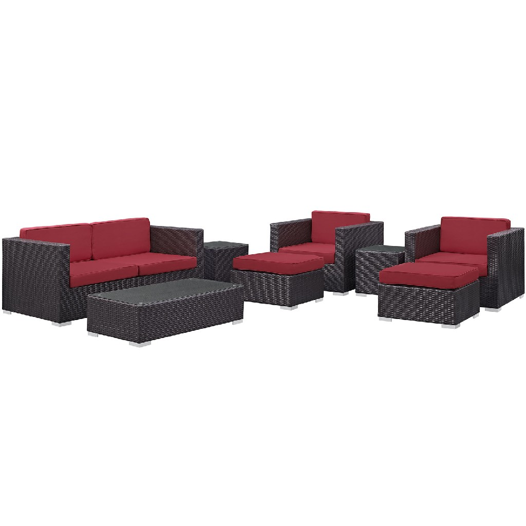 East End Outdoor Patio Sofa Set Exp Red Set