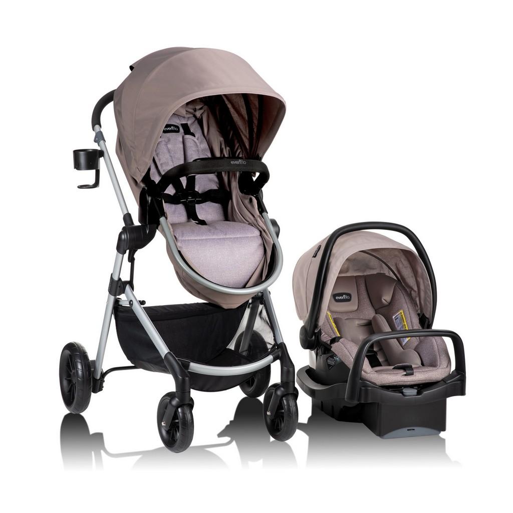 Evenflo Pivot Modular Travel System With SafeMax Car Seat, Sandstone Beige - EV56031993