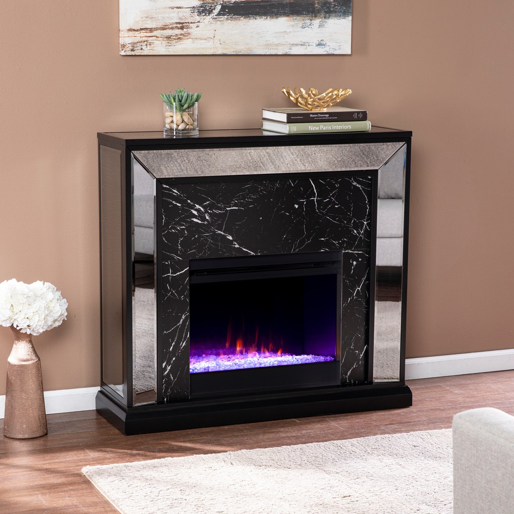 Southern Enterprises Furniture Trandling Mirrored Faux Marble Color Changing Fireplace