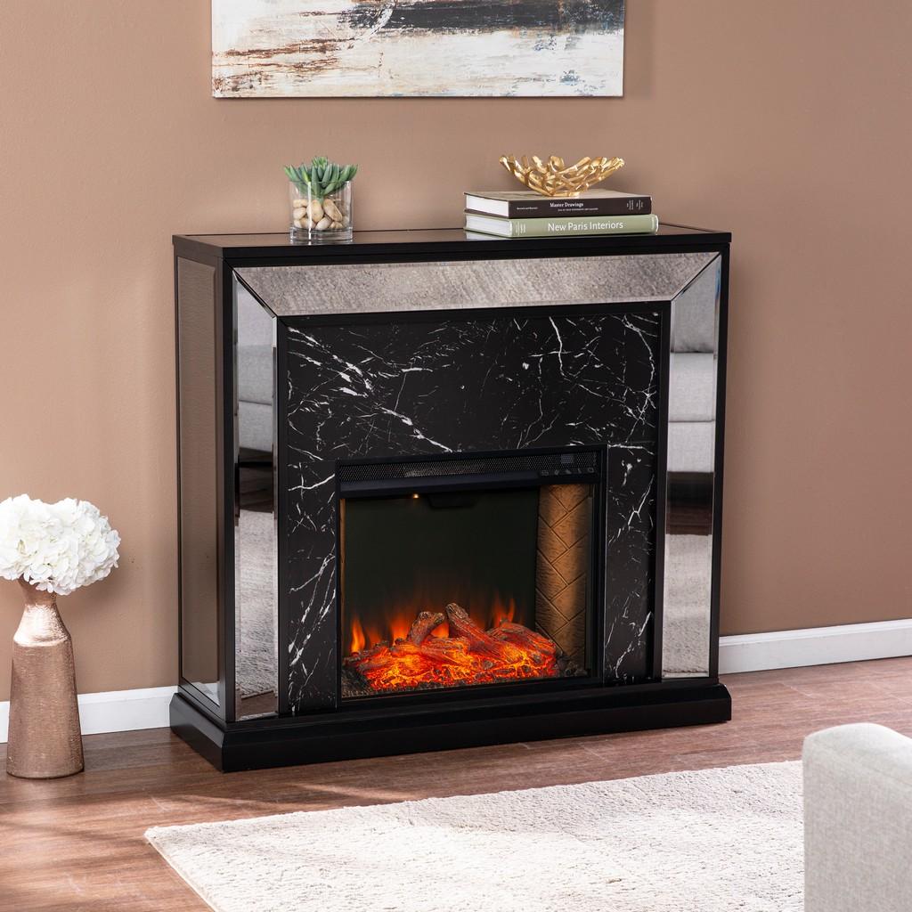 Southern Enterprises Trandling Mirrored Faux Marble Alexa Smart Fireplace