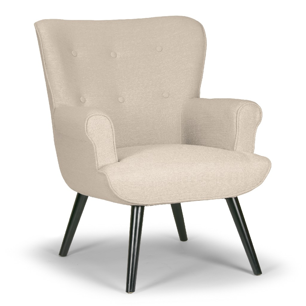 Alexi Modern Beige Fabric Wing Chair w/ Button Tufted Back - Glamour Home GHACC-1232