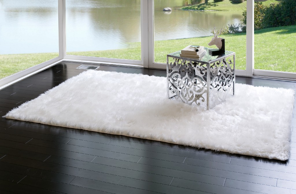 Aileen Faux Sheepskin Fur Area Rug White Rectangular 8x5 - Glamour Home GHAR-1116