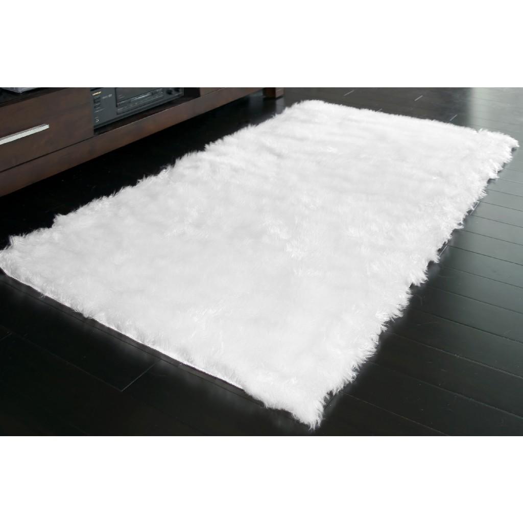 Aileen Faux Sheepskin Fur Area Rug White Rectangular 5x3 - Glamour Home GHAR-1118