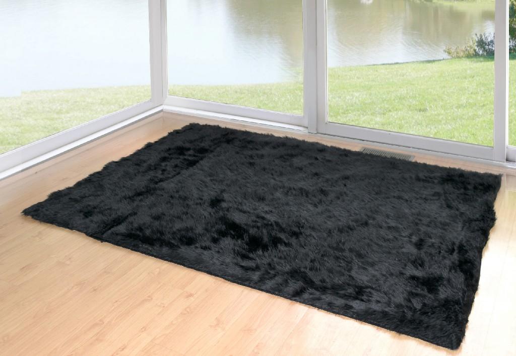 Ailis Faux Sheepskin Fur Area Rug Black Rectangular 7x5 - Glamour Home GHAR-1120