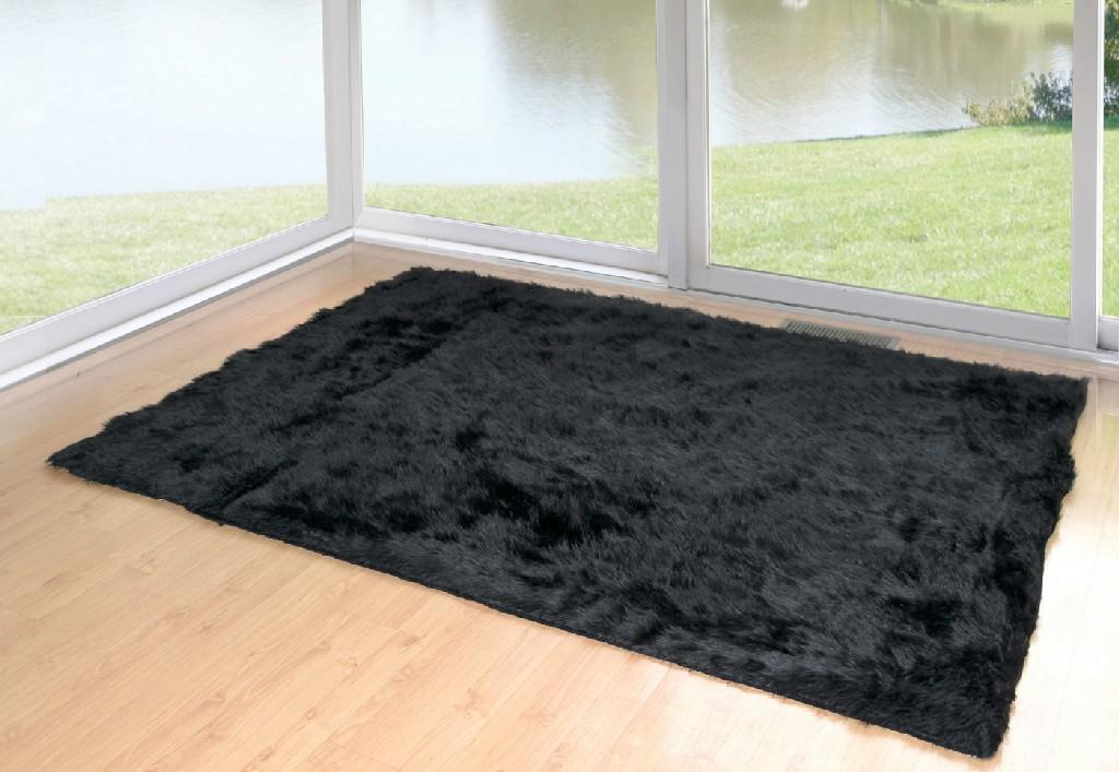 Ailis Faux Sheepskin Fur Area Rug Black Rectangular 5x3 - Glamour Home GHAR-1121