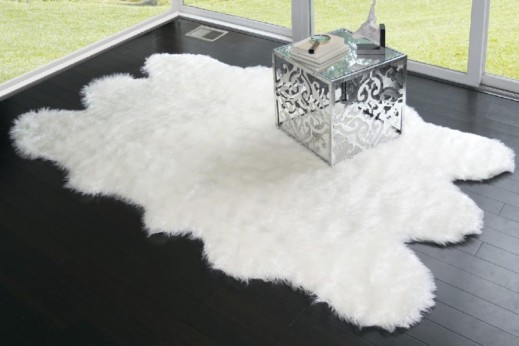 Ailsa Faux Sheepskin Fur Area Rug Runner Sheepskin-like Shape White 7x5 - Glamour Home GHAR-1123