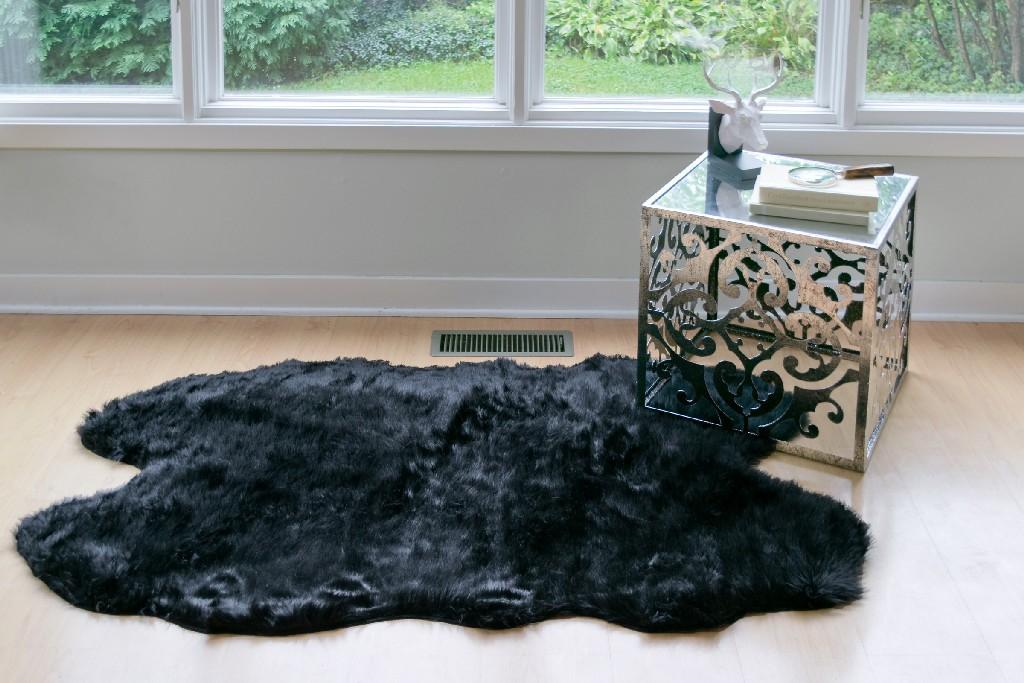 Aimi Faux Sheepskin Fur Area Rug Runner Animal-hide Shape Black 5x3 - Glamour Home GHAR-1128