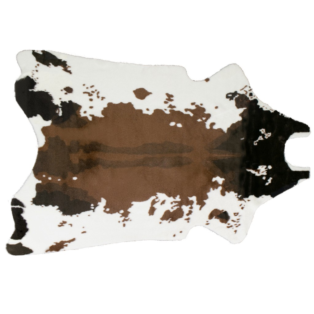 Alecia Faux Cowhide Brown White Area Rug 68 By 50 Glamour Home Ghar 1216