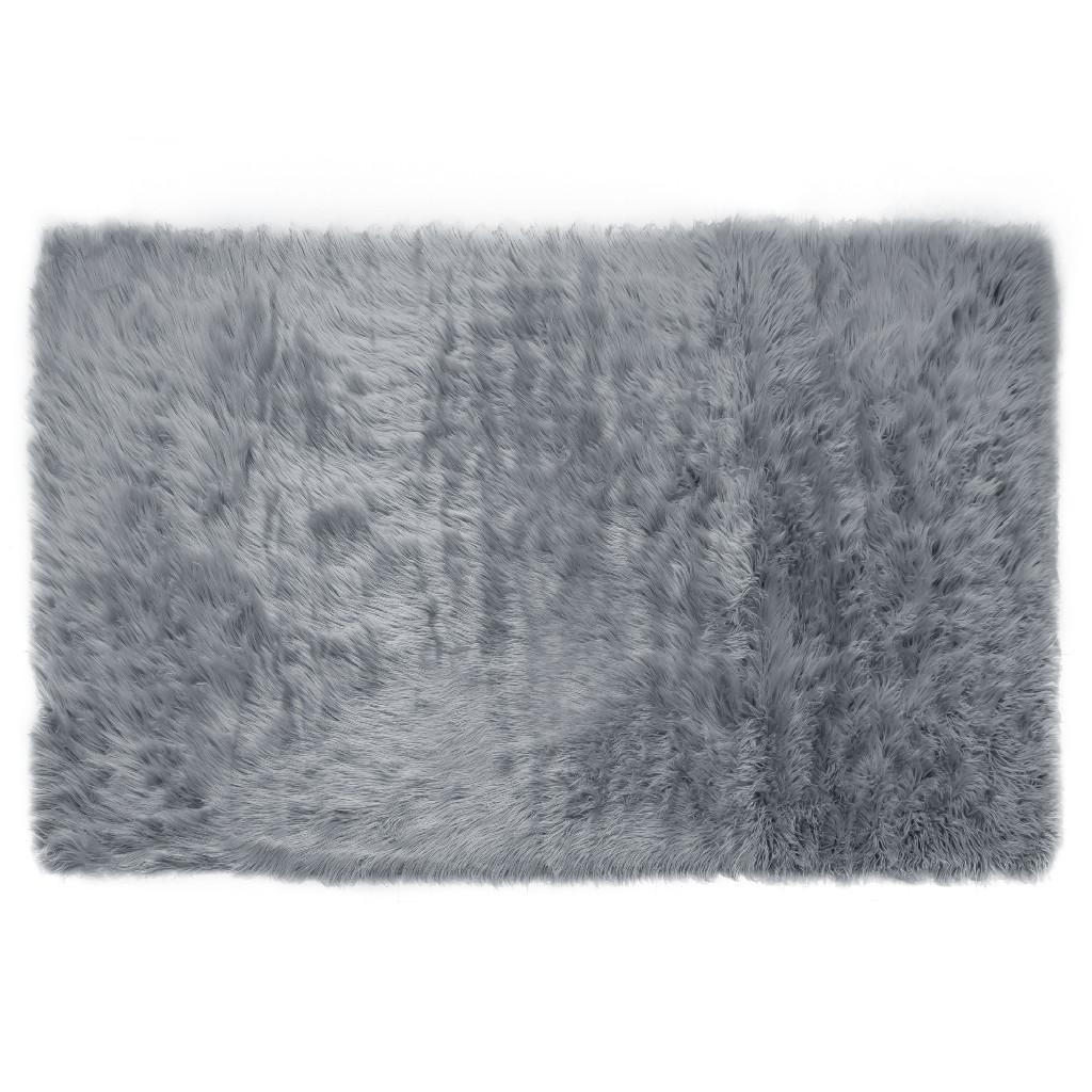 Aileen Faux Sheepskin Fur Area Rug Grey Rectangular 8x5 - Glamour Home GHAR-1327