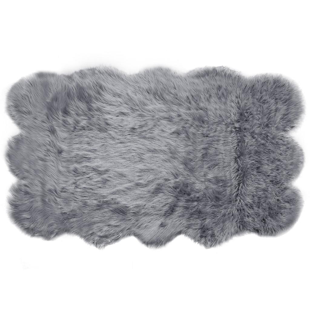 Ailsa Faux Sheepskin Fur Area Rug Runner Sheepskin-like Shape Grey 8x5 - Glamour Home GHAR-1330