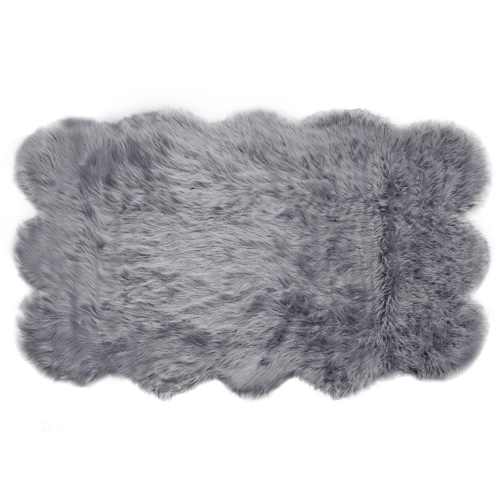 Ailsa Faux Sheepskin Fur Area Rug Runner Sheepskin-like Shape Grey 7x5 - Glamour Home GHAR-1331