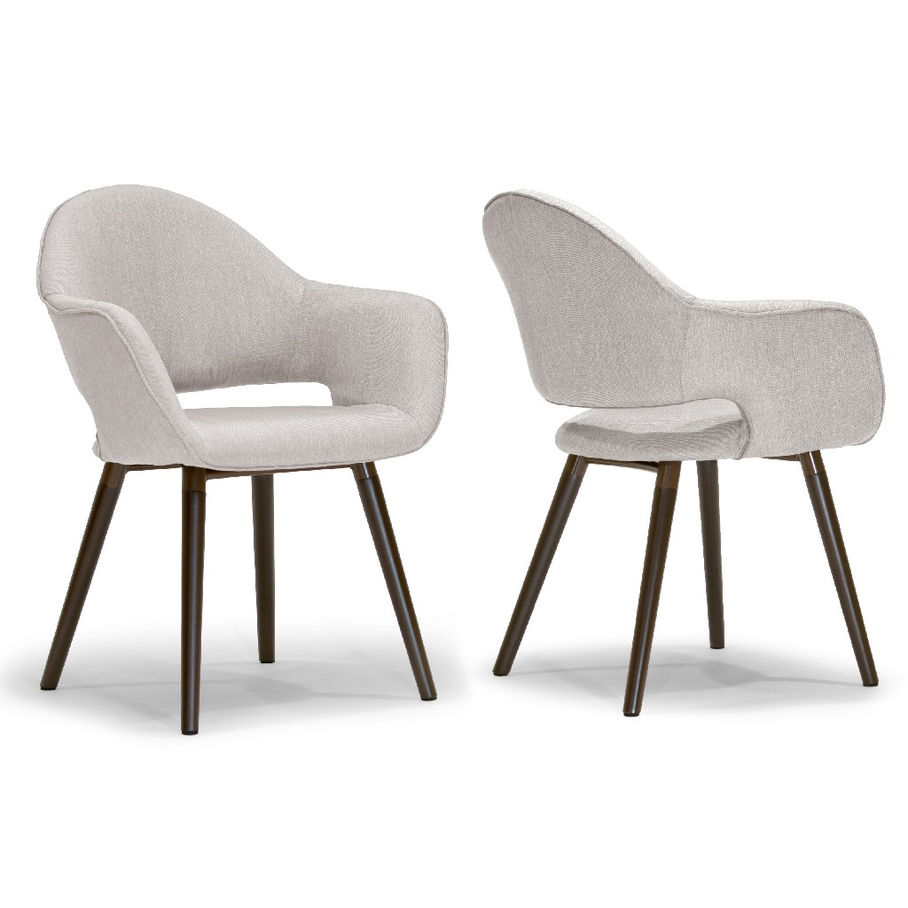 Adel Modern Beige Arm Chair Dining Chair w/ Beech Legs (Set of 2) - Glamour Home GHDC-1190