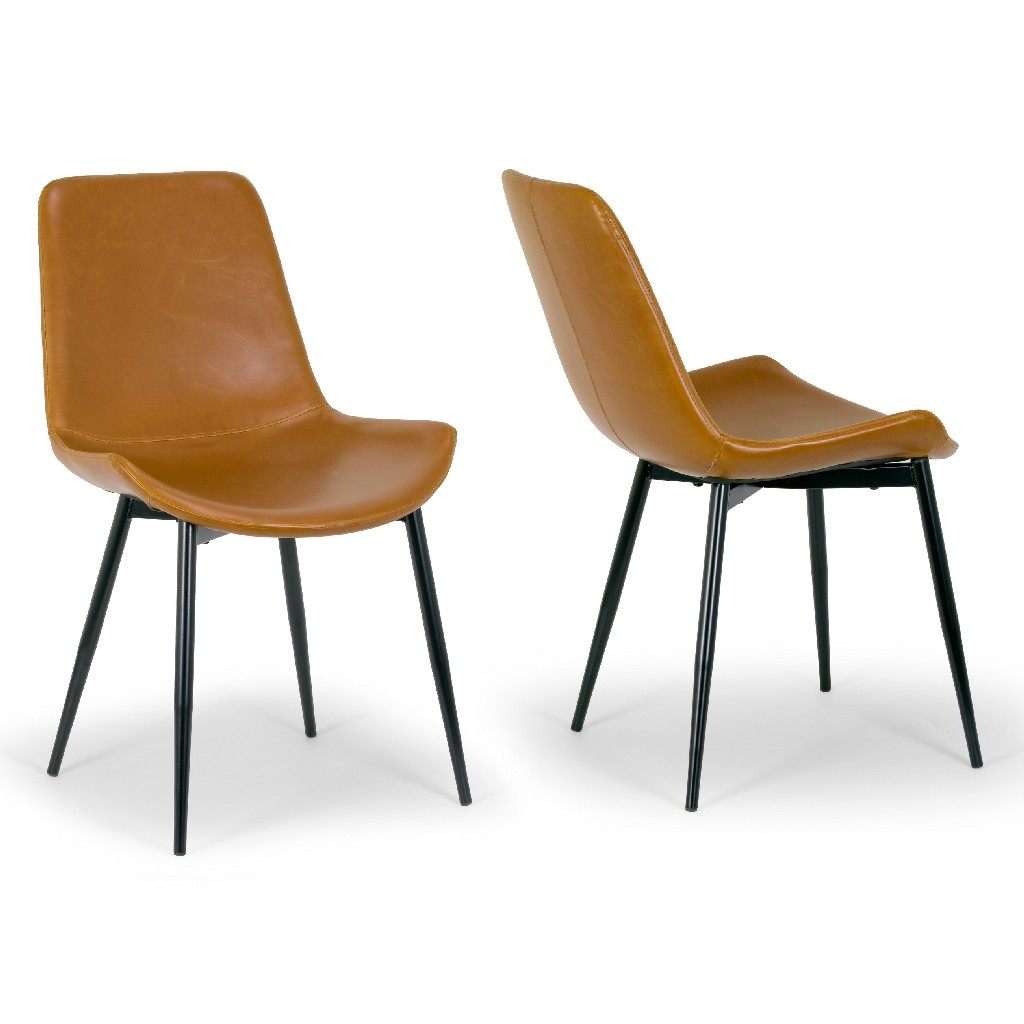 Alary Caramel Brown Faux Leather Modern Dining Chair w/ Black Iron Legs (Set of 2) - Glamour Home GHDC-1203
