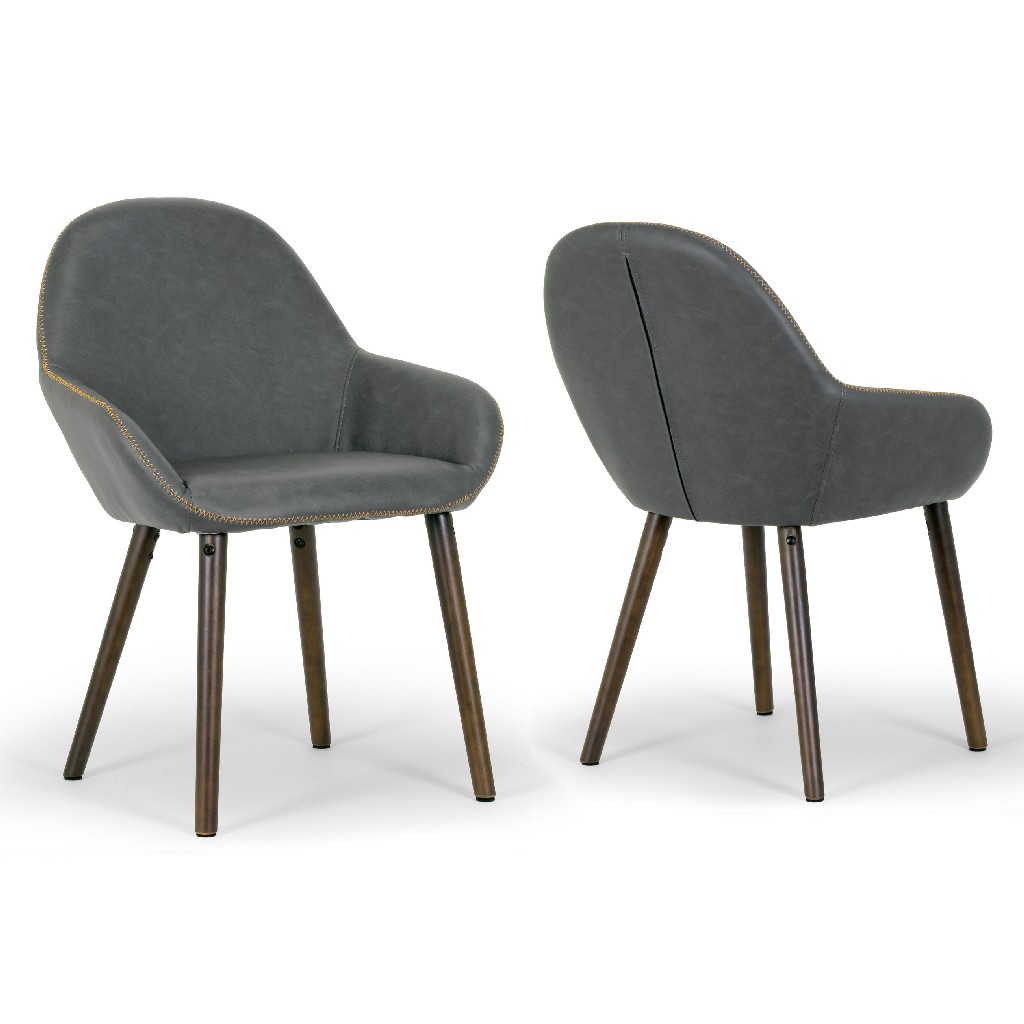 Alan Arm Chair in Vintage Grey Color Faux Leather w/ Contrasting Stitching (Set of 2) - Glamour Home GHDC-1208