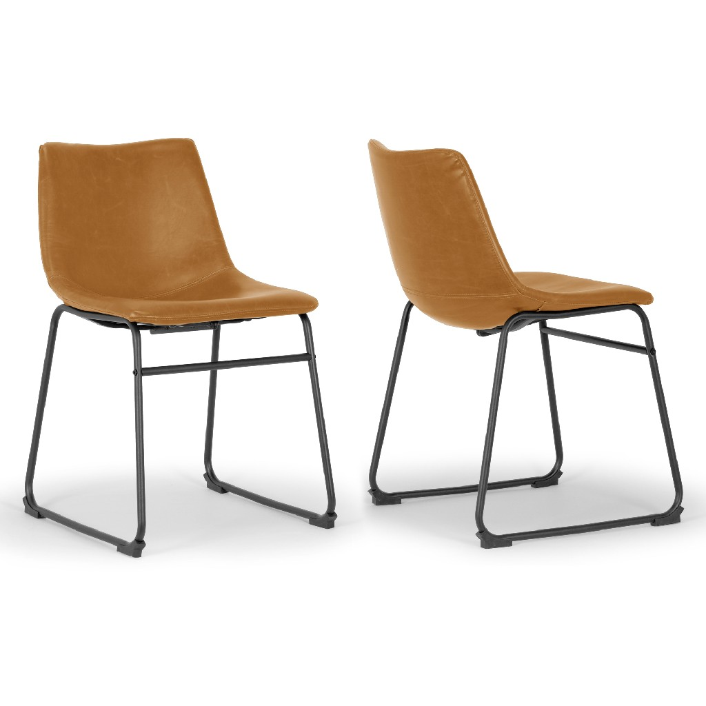 Adan Iron Frame Vintage Cappuccino Faux Leather Dining Chair (Set of 2) - Glamour Home GHDC-1265