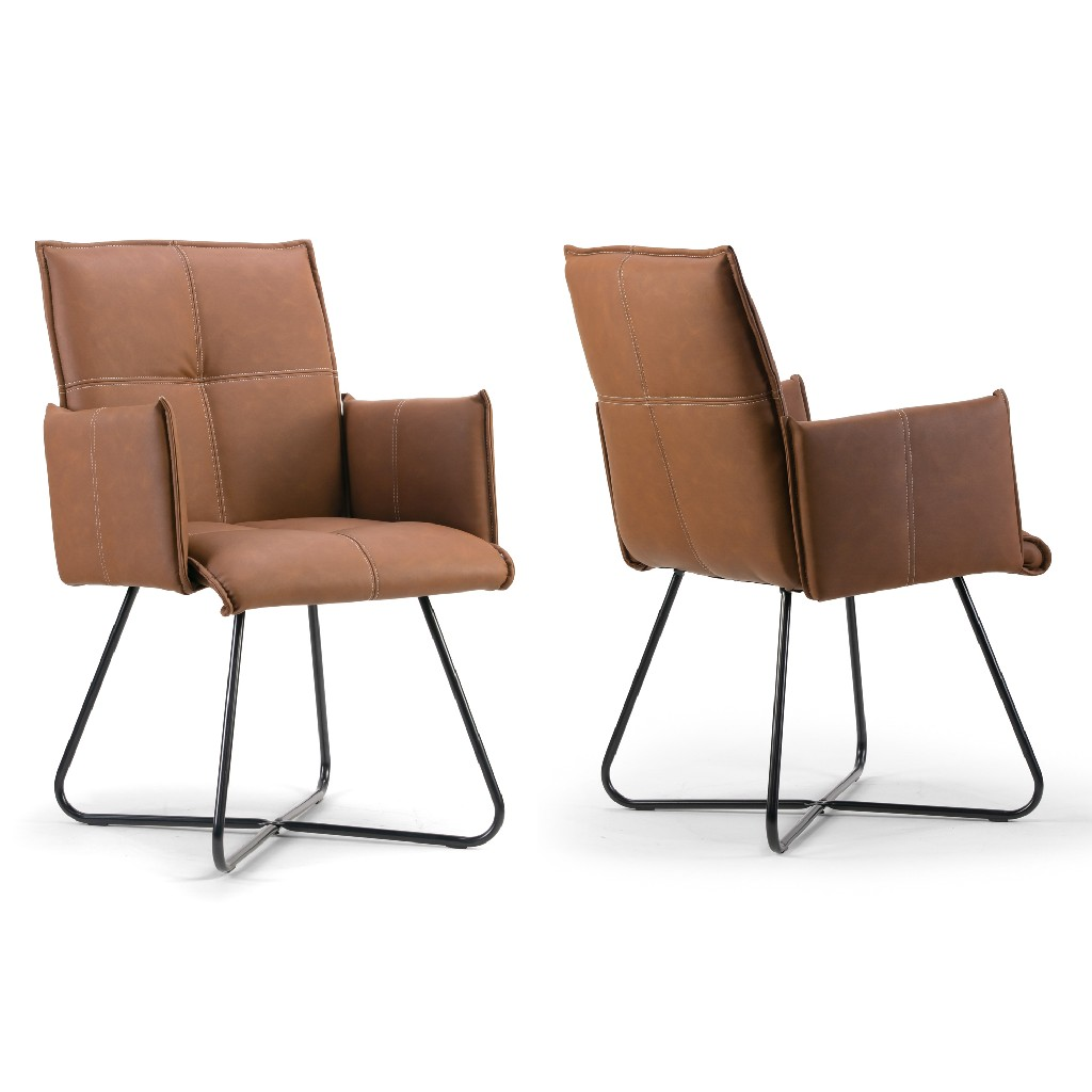 Ambel Brown Modern Dining Chair w/ Black Metal Legs (Set of 2) - Glamour Home GHDC-1268