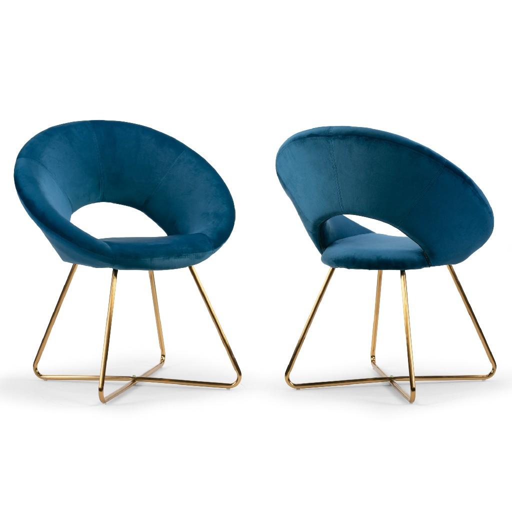 Amor Blue Velvet Dining Chair w/ Golden Metal Legs (Set of 2) - Glamour Home GHDC-1313