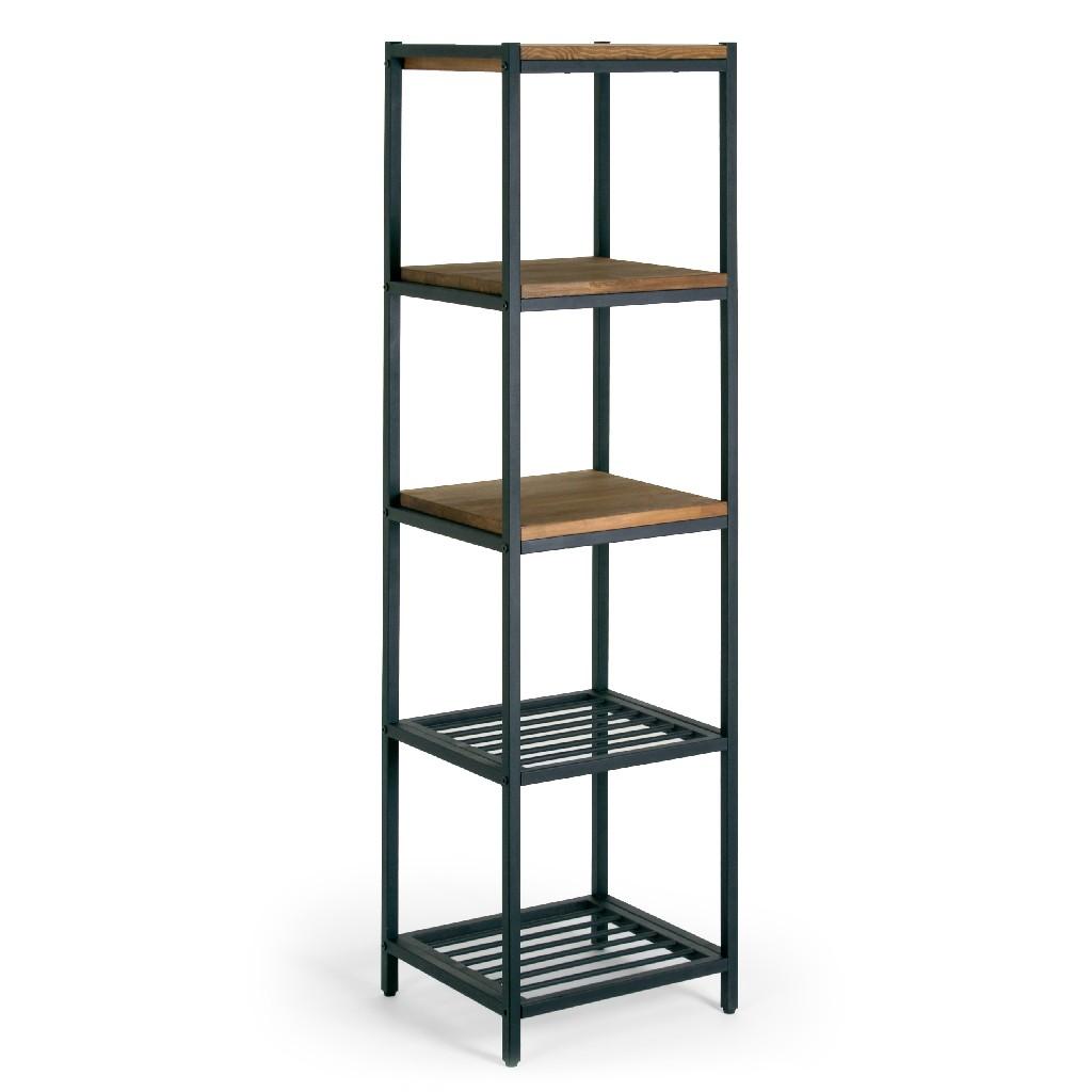 "Ailis 57"" Brown Pine Wood Metal Frame Etagere Bookcase Shelf Media Center - Glamour Home GHDSV-1159"