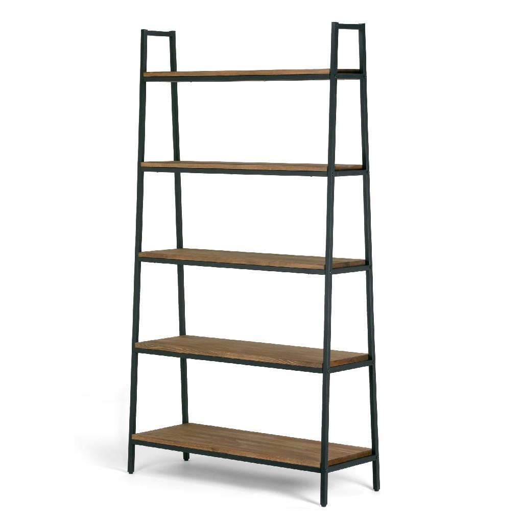 "Ailis 71.5"" Brown Pine Wood Metal Frame Etagere Bookcase Five-shelf Media Tower - Glamour Home GHDSV-1161"