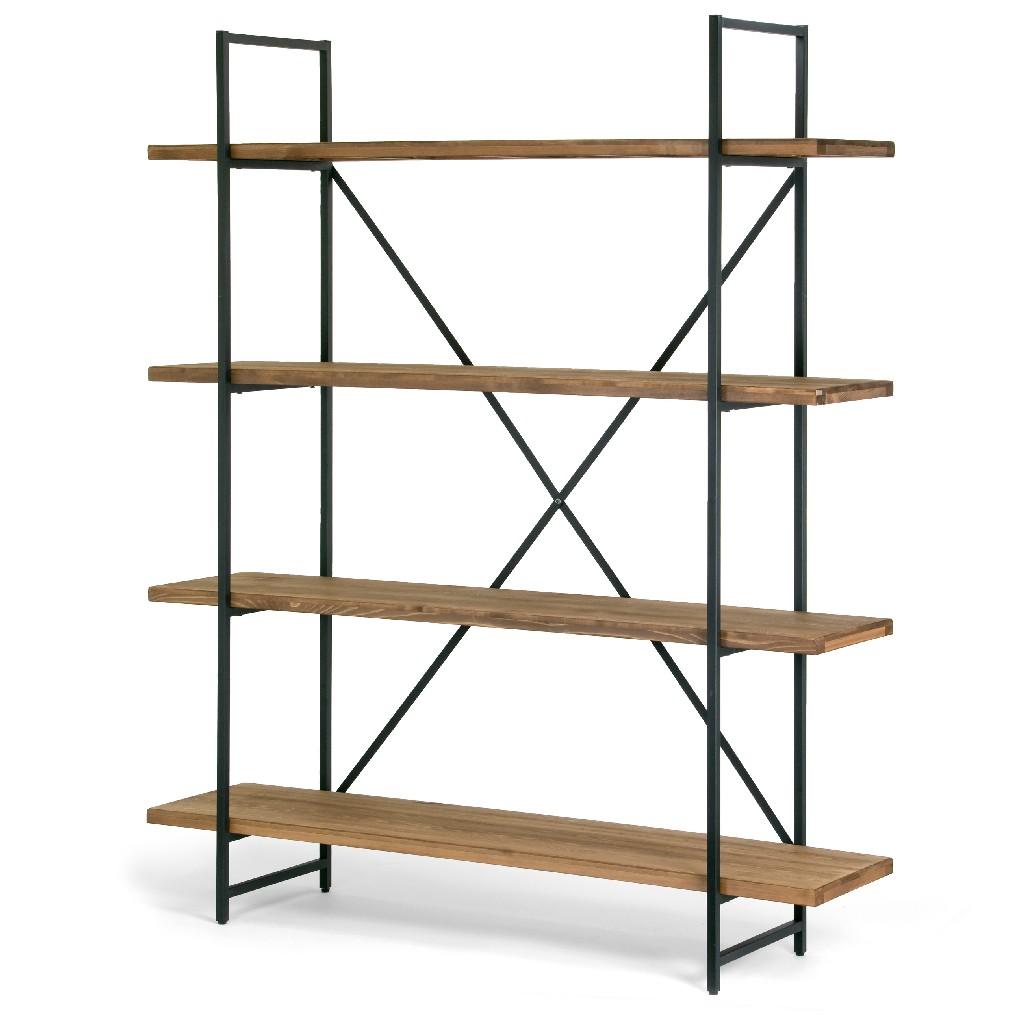 "Ailis 75"" Brown Pine Wood Metal Frame Etagere Bookcase Four-shelf Media Center - Glamour Home GHDSV-1162"