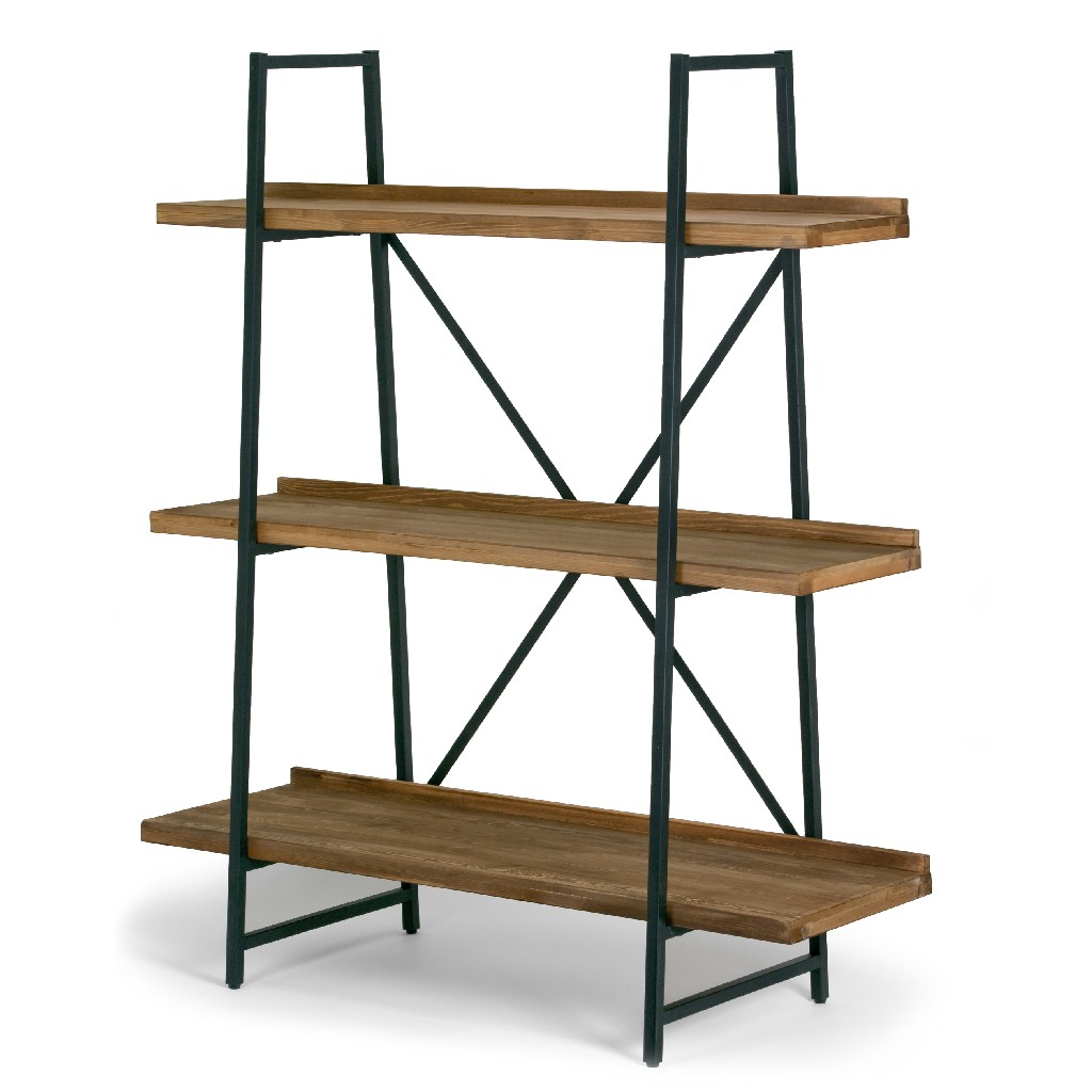 "Ailis 56"" Brown Pine Wood Metal Frame Etagere Bookcase Three-shelf Media Center - Glamour Home GHDSV-1163"