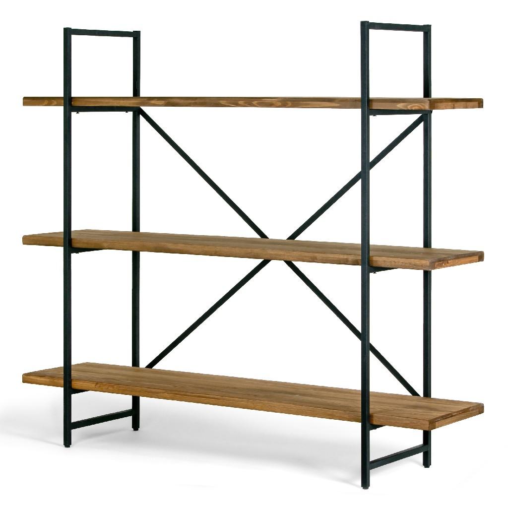 "Ailis 56"" Brown Pine Wood Metal Frame Etagere Three Wide Shelf Bookcase Media Center - Glamour Home GHDSV-1164"
